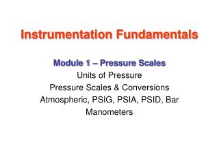 Instrumentation Fundamentals