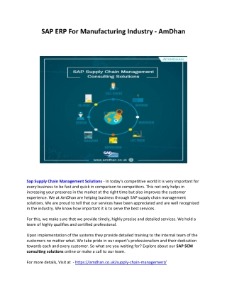 SAP Supply Chain Management (SCM) Consulting Solutions - AmDhan