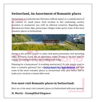 Switzerland, An Assortment of Romantic places
