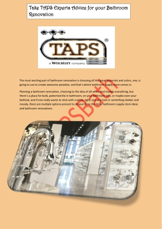 Take TAPS Experts Advice for your Bathroom Renovation