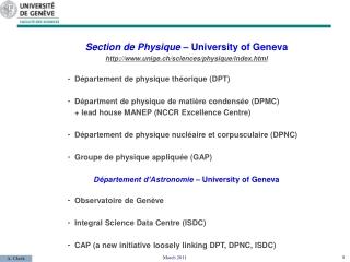 Section de Physique – University of Geneva unige.ch/sciences/physique/index.html