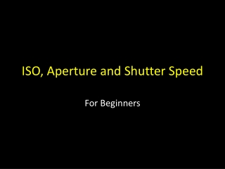 ISO, Aperture and Shutter Speed