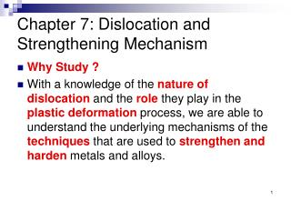 Chapter 7: Dislocation and Strengthening Mechanism