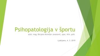 Psihopatologija v športu