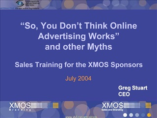 So, You Don t Think Online Advertising Works   and other Myths  Sales Training for the XMOS Sponsors