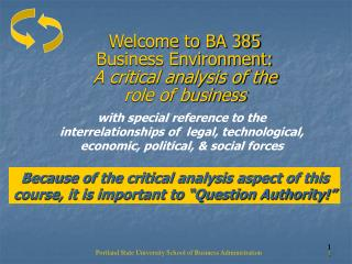 Welcome to BA 385  Business Environment:  A critical analysis of the  role of business