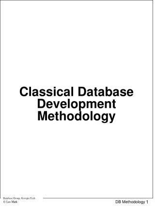 Classical Database Development Methodology