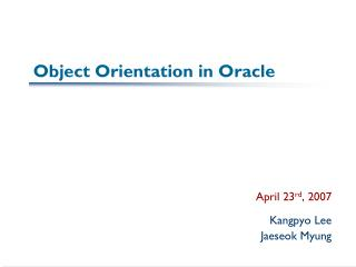 Object Orientation in Oracle