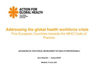 Addressing the global health workforce crisis Five European Countries towards the WHO Code of Practice    ADVANCING IN T