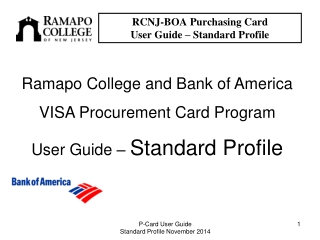 RCNJ-BOA Purchasing Card  User Guide – Standard Profile