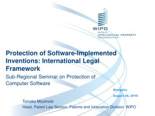 Protection of Software-Implemented Inventions: International Legal Framework Sub-Regional Seminar on Protection of Compu