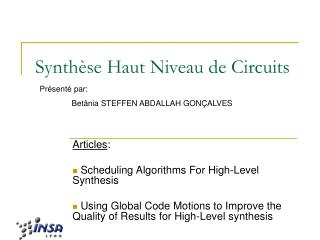 Synth se Haut Niveau de Circuits