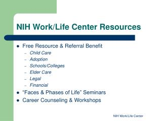 NIH Work/Life Center Resources