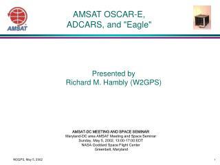 """AMSAT OSCAR-E, ADCARS, and """"Eagle"""""""