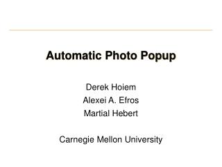 Automatic Photo Popup