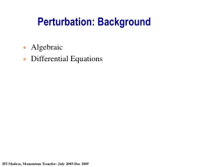 Perturbation: Background