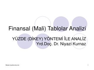 Finansal (Mali) Tablolar Analizi