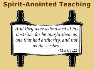 Spirit-Anointed Teaching