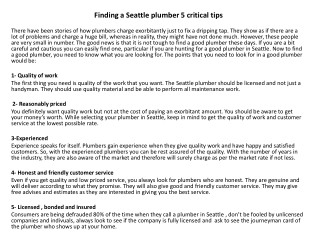 Find seattle plumbers