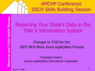 AMCHP Conference DSCH Skills Building Session