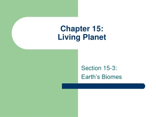 Chapter 15: Living Planet