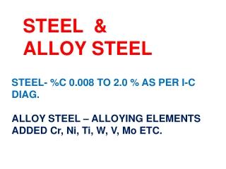 STEEL  & ALLOY STEEL