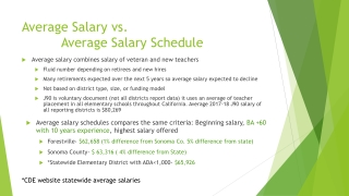 Average Salary vs. Average Salary Schedule