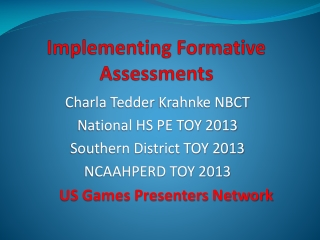 Implementing Formative Assessments