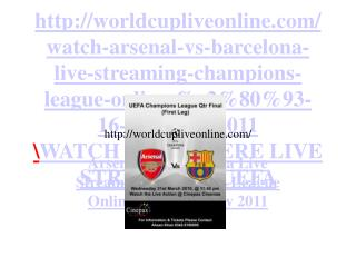 Barcelona vs Arsenal  Live Streaming Free Champions League