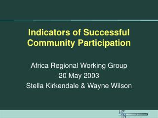 Indicators of Successful Community Participation