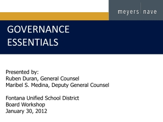 Presented by: Ruben Duran, General Counsel  Maribel S. Medina, Deputy General Counsel