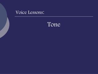 Voice Lessons :