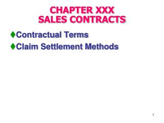 CHAPTER XXX   SALES CONTRACTS