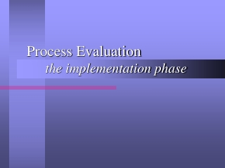 Process Evaluation the implementation phase