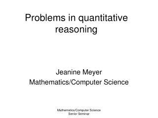 Problems in quantitative reasoning
