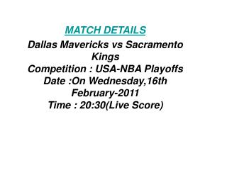 SoS Tv:**Kick off**Dallas Mavericks vs Sacramento Kings LIVE