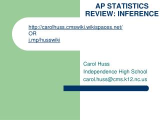 AP STATISTICS REVIEW: INFERENCE