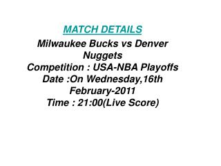 SoS Tv:**Kick off**Milwaukee Bucks vs Denver Nuggets LIVE FR