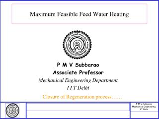 Maximum Feasible Feed Water Heating