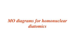 MO diagrams for homonuclear diatomics