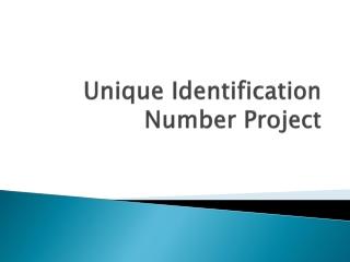 Unique Identification Number Project