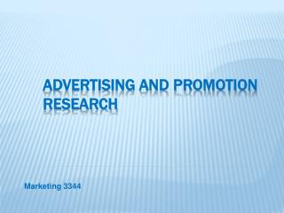 Advertising and Promotion Research