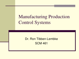 Manufacturing Production Control Systems