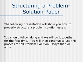 Structuring a Problem-Solution Paper
