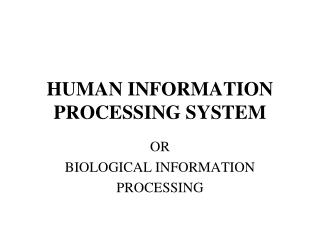 HUMAN INFORMATION PROCESSING SYSTEM