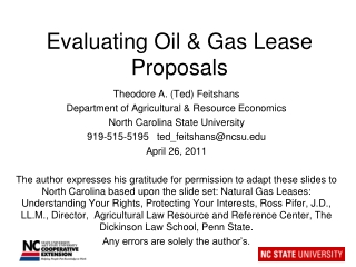 Evaluating Oil & Gas Lease Proposals