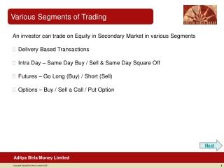 Various Segments of Trading