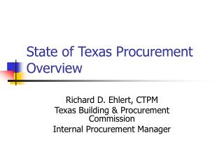 State of Texas Procurement Overview