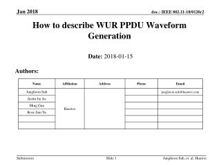 How to describe WUR PPDU Waveform Generation