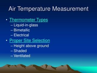 Air Temperature Measurement